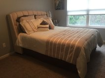 Queen bed, mattress, box spring, bedding included in Wright-Patterson AFB, Ohio