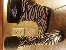 Apple Blossom zebra rubber boots--size 8 in Pasadena, Texas