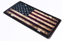 Distressed American Flag License Plate in Fort Drum, New York