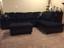 New black Microfiber sectional w ottoman in Tacoma, Washington