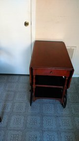 Vintage Imperial Mahogany Drop Leaf Tea Cart With Glass Serving Tray in Houston, Texas