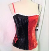 Halloween NWT Queen of Heart Bustier Red Black Spades Clubs Halloween Lg L Costume Sequins in Kingwood, Texas