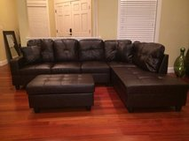 New- Brown leather couch sectional with Ottoman in Tacoma, Washington