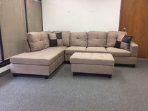 New- Beige tweed couch sectional with Ottoman in Tacoma, Washington
