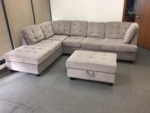 New grey Chenille sectional with Ottoman in Tacoma, Washington