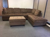 New - Brown chenille couch set with Ottoman in Tacoma, Washington