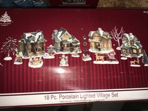 Lighted Porcelain Village 18 piece set - like new!! Christmas Village Scene Decorations in Plainfield, Illinois