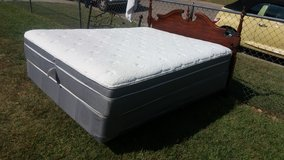 Thick pillowtop queen mattress and boxspring frame and headboard in Fort Riley, Kansas