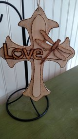 Wood Burned Cross Dragon Fly Love in 29 Palms, California