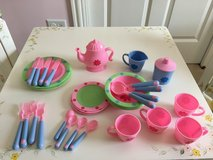 For Little Girls - Super Cute Plastic 32-Piece Tea Set in Glendale Heights, Illinois