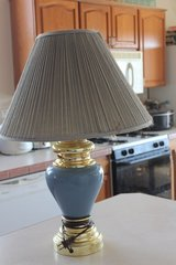 Blue Ceramic Lamp with Shade in Alamogordo, New Mexico