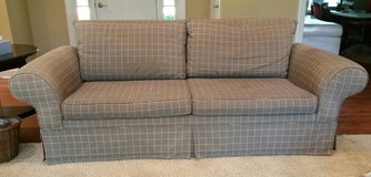 Sofa Contemporary Couch Gray with Wheat Stripes Rolled Arm in Naperville, Illinois