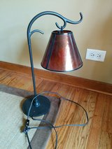 Wrought Iron lamp with Amber Shade in Oswego, Illinois