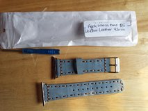 Apple Watch band light blue leather wide stitch 42mm in Fort Campbell, Kentucky