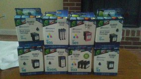 printer cartridges,3 pack assorted HP sizes. most are 3 packs,some are color.there are 26 of these. in Beaufort, South Carolina