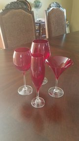 Crate and Barrel red glasses in Aurora, Illinois