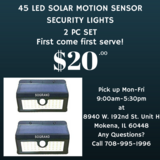 45LED Solar Motion Sensor Lights 2pc Set for Camping Outdoors Nature in Orland Park, Illinois