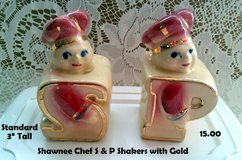 Shawnee CHEF Salt & Pepper Shakers with Gold in Chicago, Illinois
