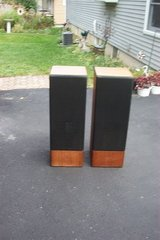 "PAIR OF WOOD SPEAKER CABINETS WITH 8"" SPEAKERS. in Bolingbrook, Illinois"