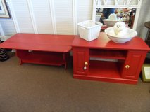 RED Drop-leaf coffee Table and TV Stand (set) in Cherry Point, North Carolina