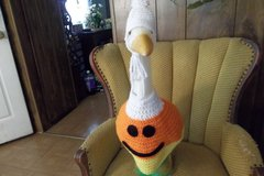 Candy Corn Geese Goose Outfit Crochet Garden Statue in Belleville, Illinois