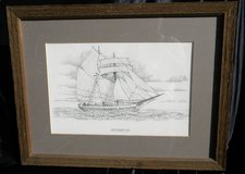 Professionally framed and matted Schooner Print C. Mueller in Camp Lejeune, North Carolina