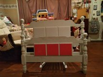 WHITE TWIN BED-Headboard, footboard,rails & slates. Can paint 3 blocks on Headbord pink too OR... in Hopkinsville, Kentucky