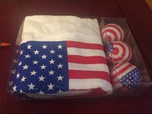 New Patriotic Golf Towel & 3 Golf Balls - Red, White & Blue in Naperville, Illinois