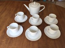Hutschenreuther Noblesse German Tea Set: Teapot w/lid, 6 cups & saucers – White in Cherry Point, North Carolina