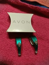 Avon frosted embellished hoop earrings teal in Cherry Point, North Carolina