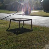 large wooden outdoor table in Fort Campbell, Kentucky