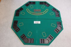 Folding 48 Inch 8 Player Casino Style Green Felt Gaming Top in Naperville, Illinois