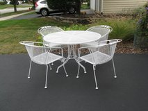 4 Vintage Wrought Iron Chairs & Table Set #2-Woodard?/Meadowcraft? in Naperville, Illinois