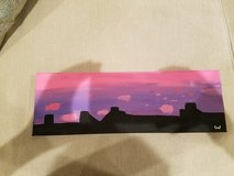 """""""Pink Evening"""" 4 in x 12 in acrylic painting in Chicago, Illinois"""