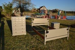 bedroom set  3 piece full bed /chest of drawers / nightstand. Neutral perfect shape in Naperville, Illinois
