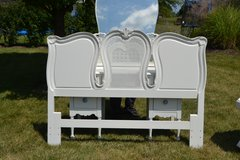 cane headboard white full/ queen size. available nightstand and vanity with mirror in Morris, Illinois