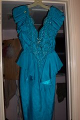 Blue beaded low cut evening dress in The Woodlands, Texas