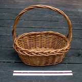 "2 OVAL WICKER BASKETS W/TWISTED HANDLES, 12"" in St. Charles, Illinois"