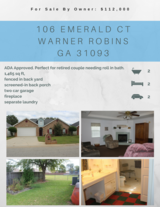 *ADA Compliant* Home For SALE by OWNER $112,000 Warner Robins, GA in Macon, Georgia