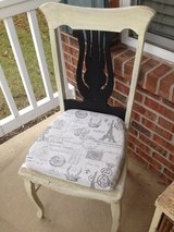 (set of 2) Antique harp back chairs! White Chalk & Black, Shabby, distressed, rustic, vintage! in St. Charles, Illinois