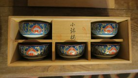 arita yaki japanese old tea cups set in Okinawa, Japan