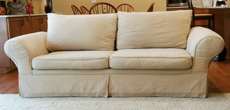 Sofa Couch Contemporary Beige/ Wheat Rolled Arm in Naperville, Illinois