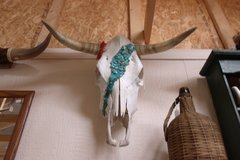 Decorated Steer Skull in Alamogordo, New Mexico