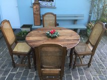 Beautiful antique solid wood dining table 4 chairs from France in Ramstein, Germany