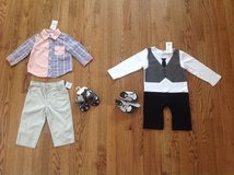 New with tags BABY BOY CLOTHES LOT, SETS, OUTFITS, SHOES AND SANDALS, SIZE 12 MONTHS in Elgin, Illinois