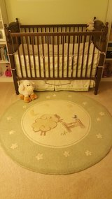 Pottery Barn Sage Green Lambie Nursery Set and Rug in Aurora, Illinois
