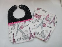 Baby Bib / Burp Cloth Set - Pink & Black Parisian in Kingwood, Texas