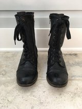 Women's Lace Up + Zipper Black Leather Mid-Calf Boots Size 7 in Lockport, Illinois