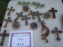 Wood cut outs with stones in Alamogordo, New Mexico