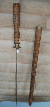 Middle East Collector  Sword in Carved Wooden Scabbard in Alamogordo, New Mexico